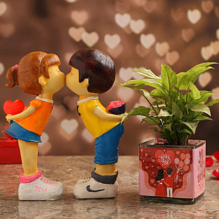 Syngonium Plant In Lucky to Have You Vase & Couple Figurine