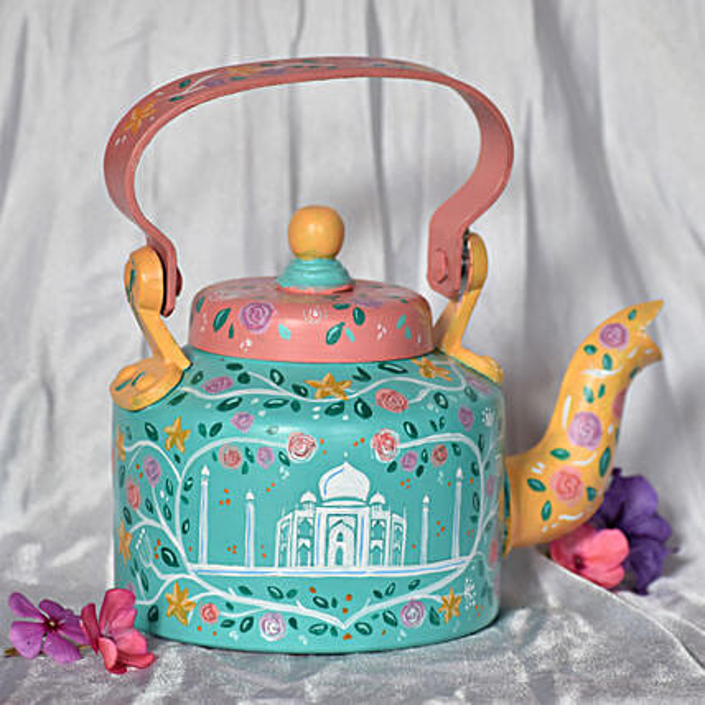 Taj Mahal Floral Handpainted Kettle