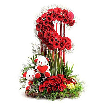 Tall Moon Love - Tall moon shape 2-2.5 feet arrangement of 50 Red roses with 2 Cute Soft toys and 16 pieces ferrero rocher chocolates.