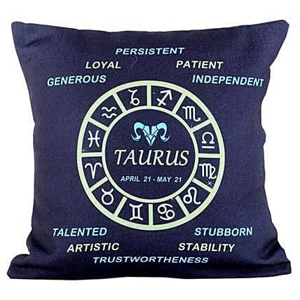 Taurus Cushion-Navy Blue Taurus Cushion 12X12 inches:Gifts for Taureans
