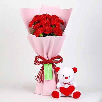 Buy Carnations Bouquet With Teddy Online