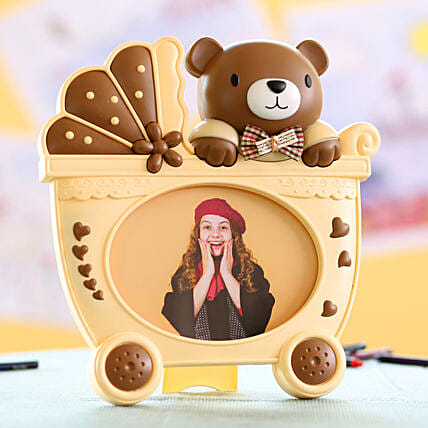 Teddy Cart Photo Frame:Personalised Birthday Gift