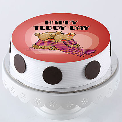 happy teddy day personalised photo cake