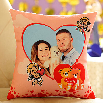 Teddy Day Special Personalised Cushion:Send Hug Day Personalised Gifts