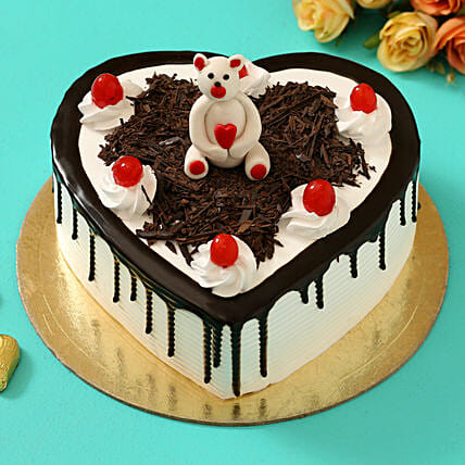 Online Teddy On Top Black Forest Heart Cake