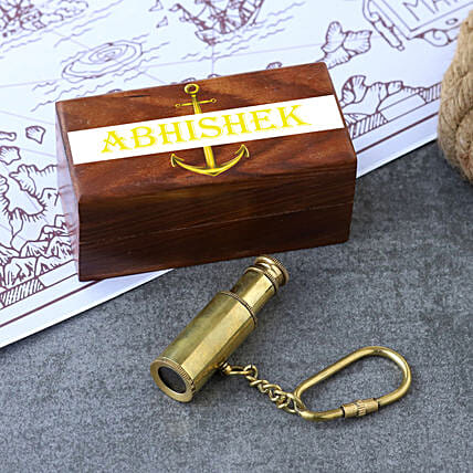 Telescope Keychain With Personalised Wooden Box:Personalised Antique gifts