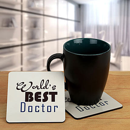 Thank you Doc-Black Coffee Mug and Best Doctor coasters:Coasters Gifts