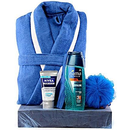 Blue Man-Dark Blue Tray,Blue and White Bathrobe,Fiama Di Wills Shower Gel Men 200 ml,Blue Loofah,100 grams Nivea Face Wash Men
