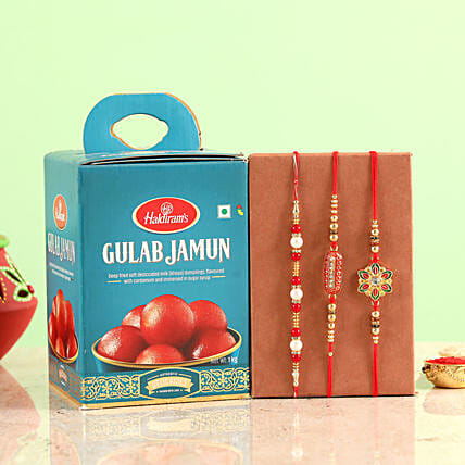 online Three Rakhi Set With Gulab Jamun Combo:Rakhi with Sweets