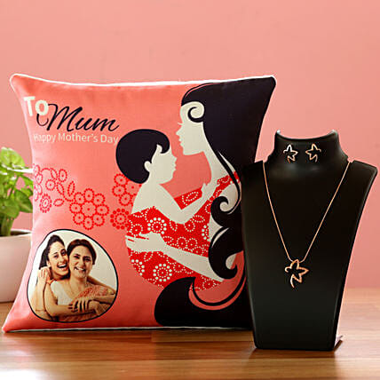 To Mum Personalised Cushion And Necklace Set Hand Delivery