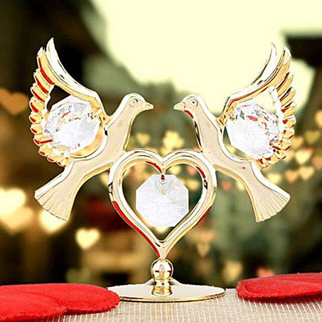 Swarovski double dove with heart