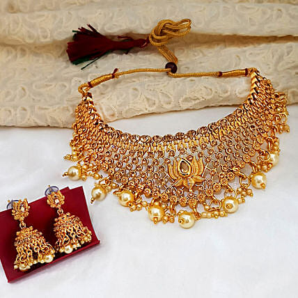 Traditional Choker Gold Plated Necklace Set