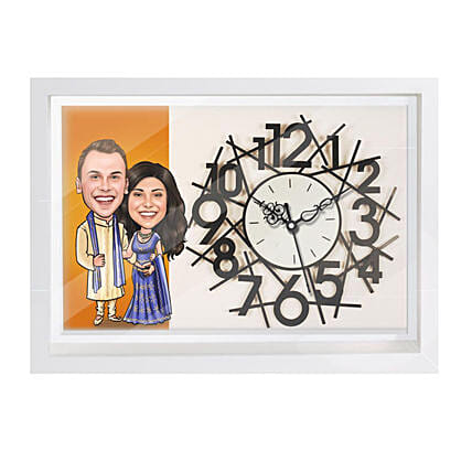 Online Traditional Couple Caricature Wall Clock