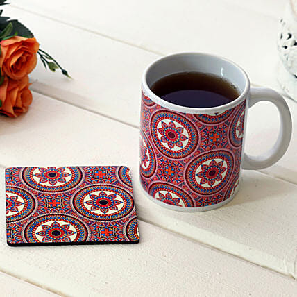Traditional Print White Ceramic Mug With Coaster
