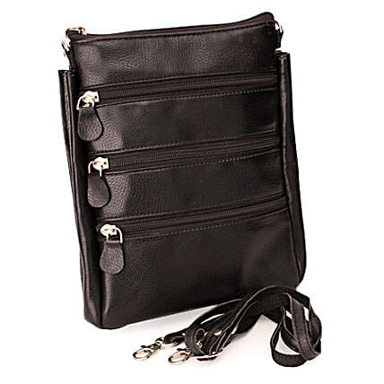 Travel Smartly-Black Leather Travel Bag 9 inches:Leather Gifts