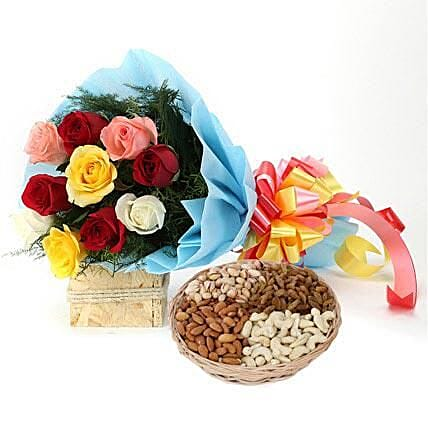 Combo of multi colored roses bouquet and dry fruits:Flower N Dry Fruit