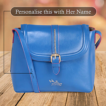 Glossy Blue Sling Bag Online:Handbags and Wallets Gifts
