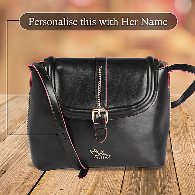 Glossy Black Sling Bag Online