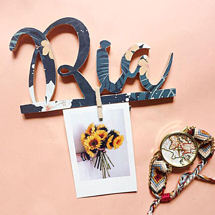 Wooden Name Cutout with Key Hanger