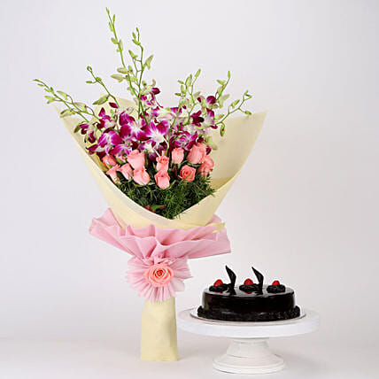Orchids and Roses with Cake Online
