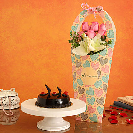 Truffle Cake With Roses & Lily in FNP Heart Sleeve