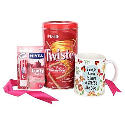 Twister Combo For Sister-Fruity Shine Nivea Lip Balm,320 grams Delfi Twister Strawberry Wafers Tin Pack,1 Mug with a message,I am so lucky to have a sister like you