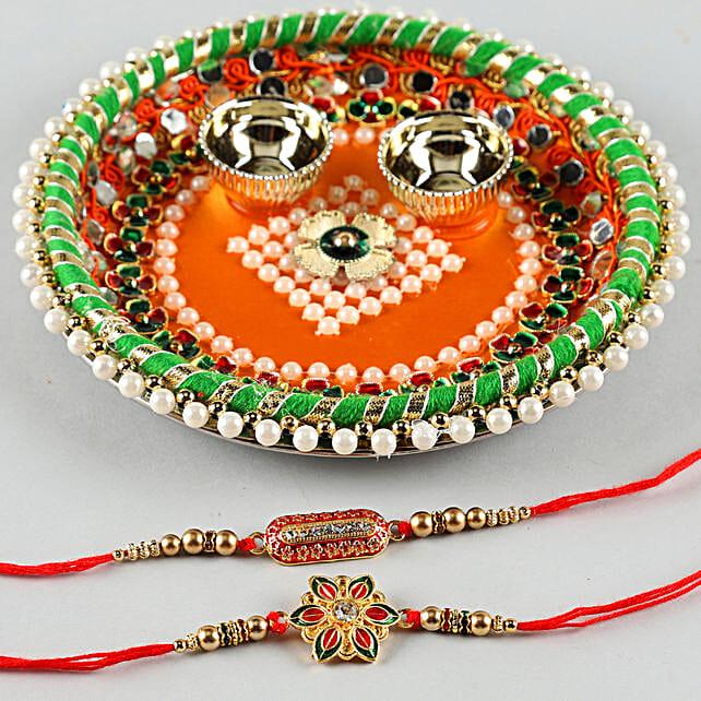 Two Elegant Rakhis With Pooja Thali:Pooja Thali
