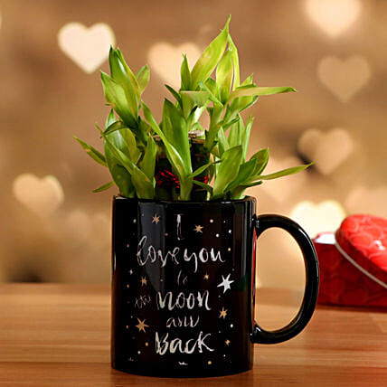 Two Layer Bamboo In Love You To Moon Mug Hand Delivery:Valentines Day Lucky Bamboo