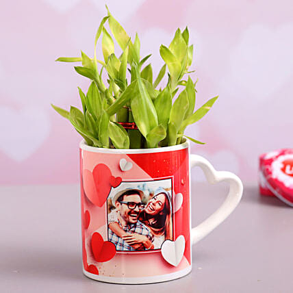 Two Layer Bamboo In Personalised Heart Handle Mug