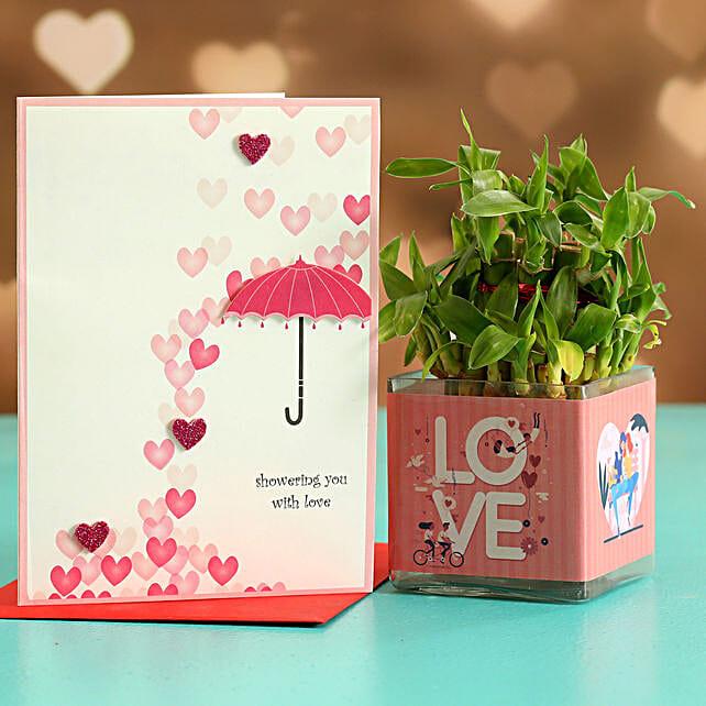 Two Layer Bamboo Plant In Love Sticker Vase Love Umbrella Card