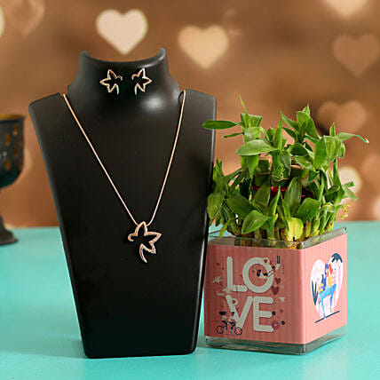 Two Layer Bamboo Plant In Love Sticker Vase Necklace Set:Lucky Bamboo to Chennai