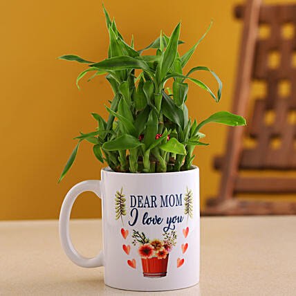 Two Layer Bamboo Plant In Mom I Love You Mug