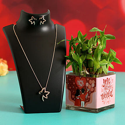 Two Layer Bamboo Plant In Sticker Vase & Jewellery Set Hand Delivery