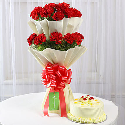 red carnation with delicious butterscotch cake