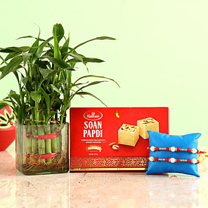Rakhis With Lucky Bamboo & Sweets online