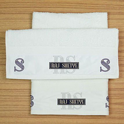 Two Personalised White Hand Towels