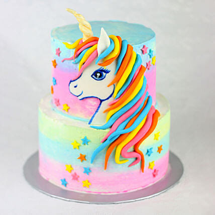 OnlineTwo Tier Truffle Unicorn Cake:Designer and Theme Cakes