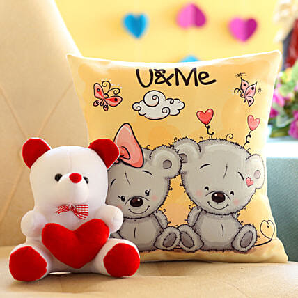 printed cushion n teddy bear for valentines day