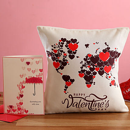 V Day Hearts Map Cushion and Greeting Card Hand Delivery