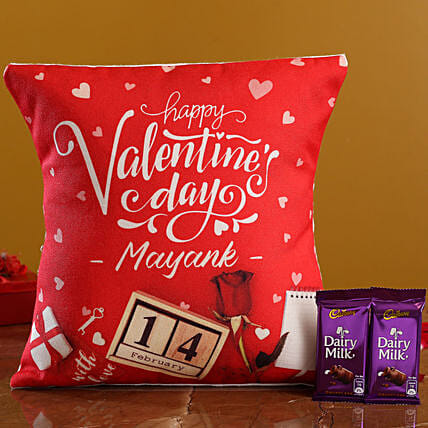 V Day Personalised Cushion and Cadbury Dairy Milk Hand Delivery:Personalised Gifts Combo for Valentine's Day
