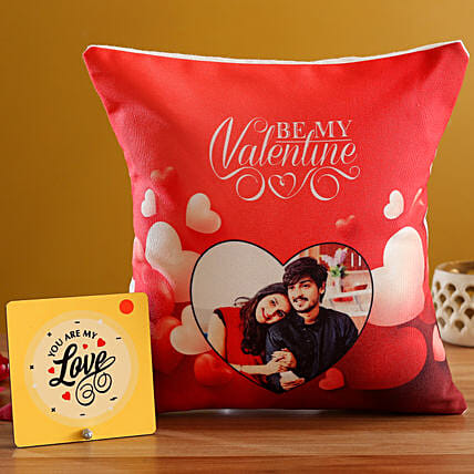 V Day Personalised Red Cushion and Table Top Hand Delivery