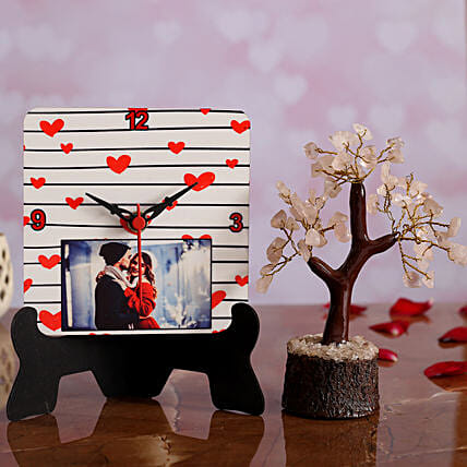 V Day Personalised Table Clock and Wish Tree Hand Delivery:Send Hug Day Personalised Gifts