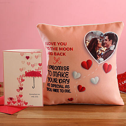 V Day Special Personalised Cushion and Greeting Card Hand Delivery