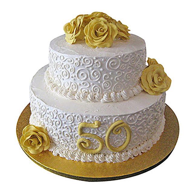 2 Tier Anniversary Fondant Cake Chocolate 5kg