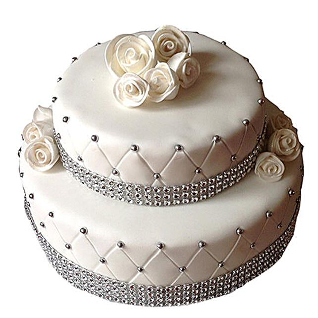 2 Tier Designer Fondant Cake Truffle 4kg Eggless