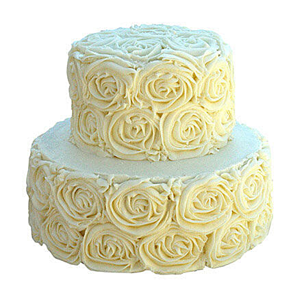 2 Tier White Rose Cake Vanilla 5kg Eggless