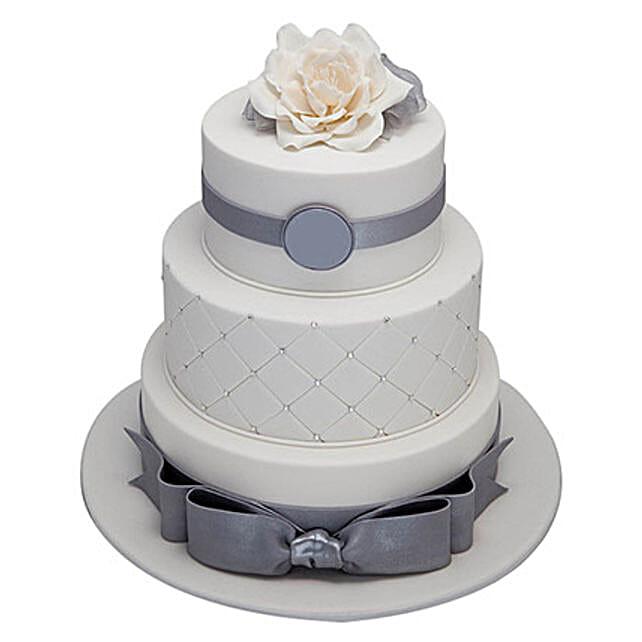 3 Tier Silver Anniversary Cake Truffle 5kg Eggless