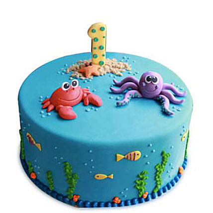Baby Sea Animals Cake 3kg Eggless Pineapple