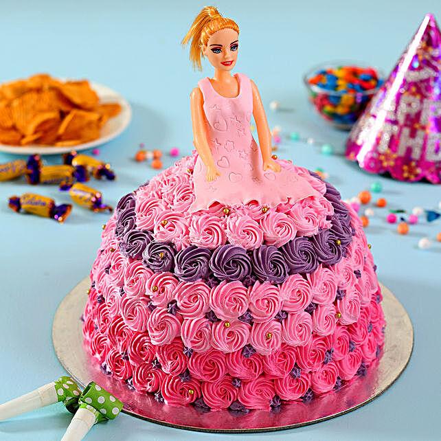 Awe Inspiring Barbie In Floral Roses Cake Vanilla 2Kg Gift Disney Princess Birthday Cards Printable Opercafe Filternl
