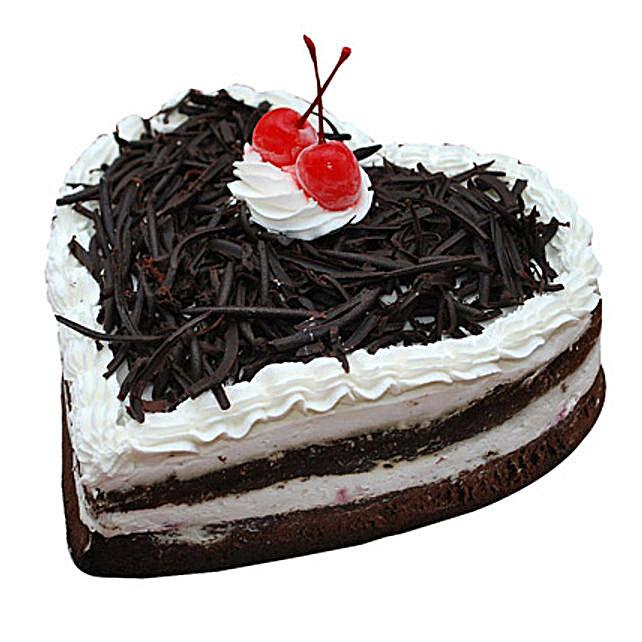 Black Forest Heart Cake Half Kg Eggless